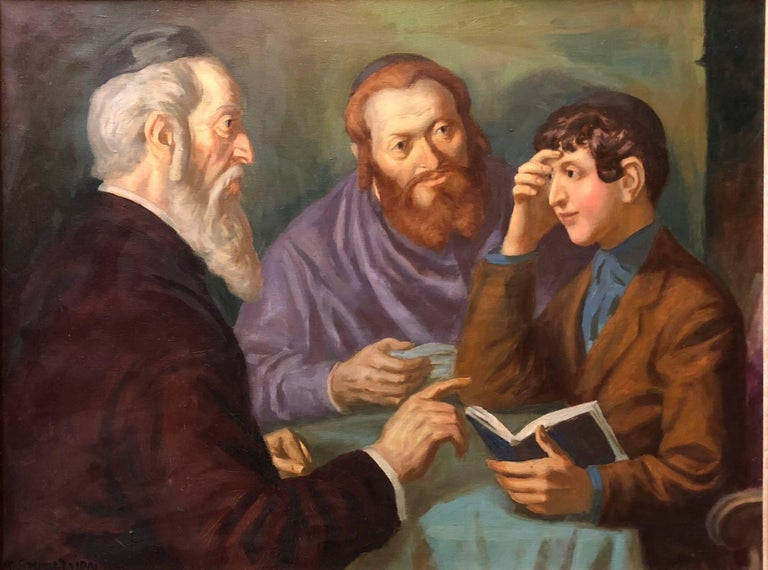 Nandor Vydai Brenner Figurative Painting - the Rabbi's Cheder Test Hungarian Judaica Oil Painting