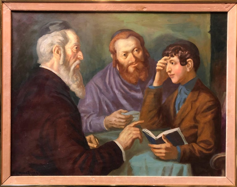 the Rabbi's Cheder Test Hungarian Judaica Oil Painting - Black Figurative Painting by Nandor Vydai Brenner