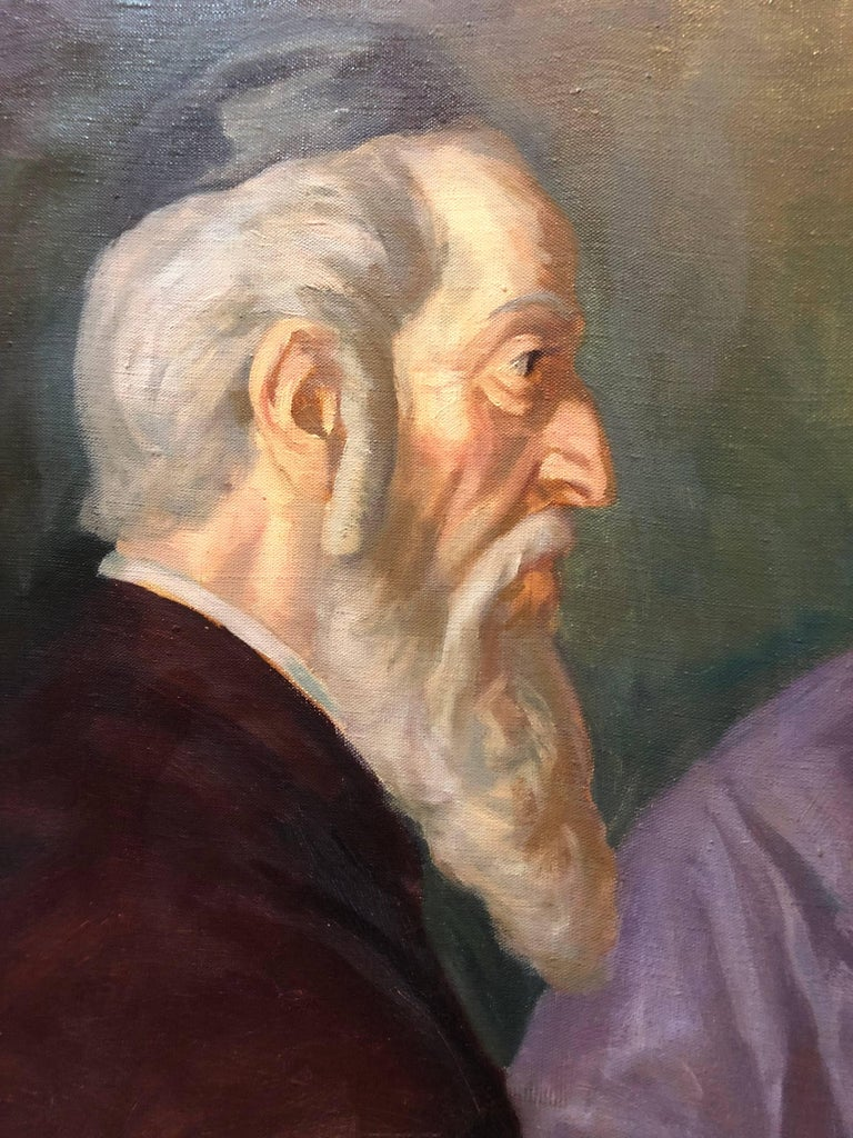 the Rabbi's Cheder Test Hungarian Judaica Oil Painting For Sale 2