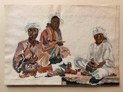 Watercolor Painting Three Black Men