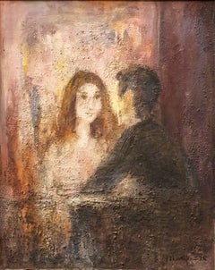 El Balcon, Courting Couple Mexican Modernist Oil Painting