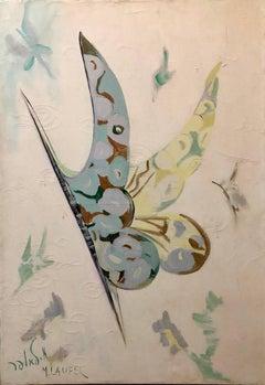 Israeli Large Surrealist Butterfly Oil Painting