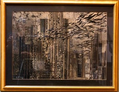 Rare Large Collage New York Cityscape Skyline Assemblage Painting