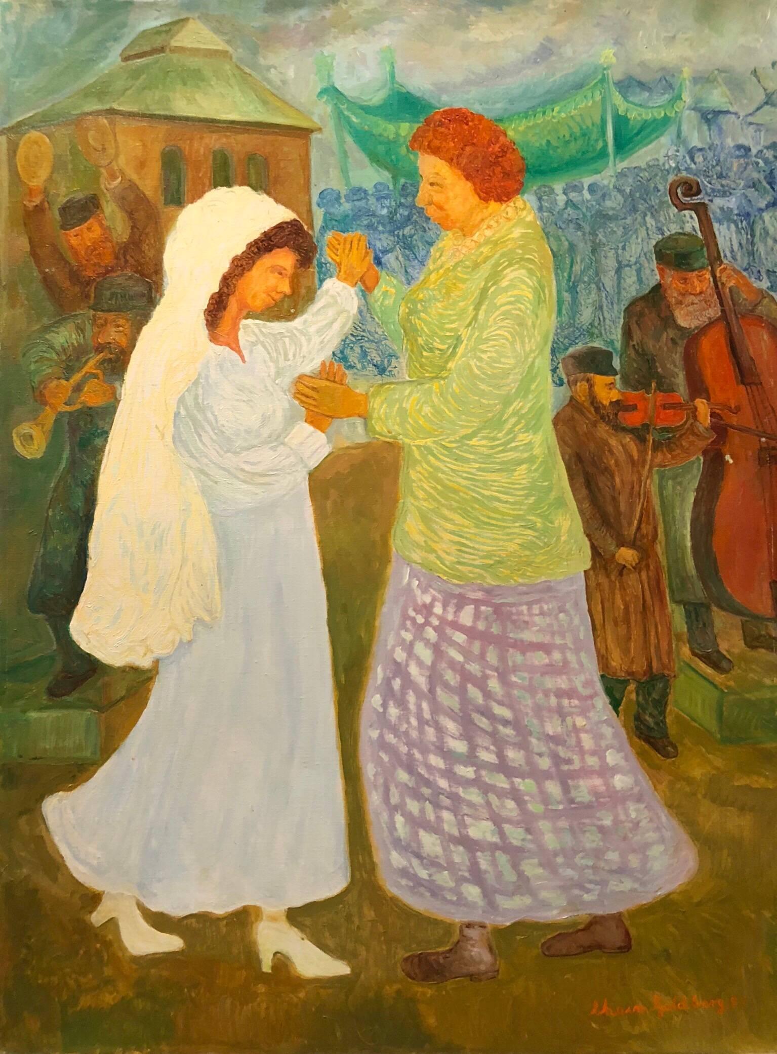 Mother Daughter Wedding Dance, Large Judaica Oil Painting, Shtetl Life