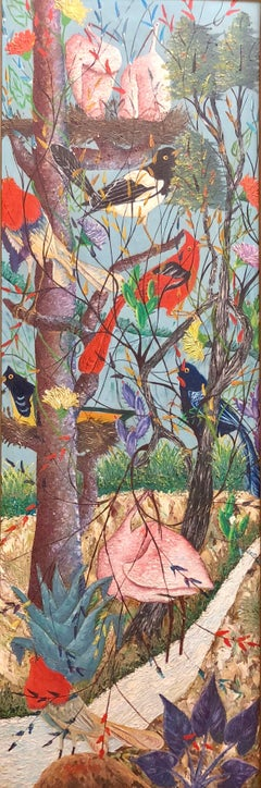 Large Haitian Naive Exotic Birds Tropical Jungle Oil Painting