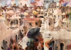Old City Jerusalem Landscape Original Israeli Judaica Watercolor Painting