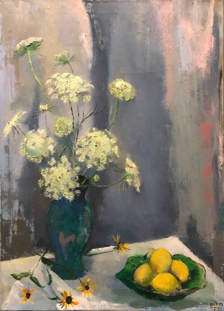 Still Life with Lemons and Flowers Modernist c1940s Oil Painting