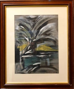 Abstract Landscape with Palm Tree Judaica Gouache Painting