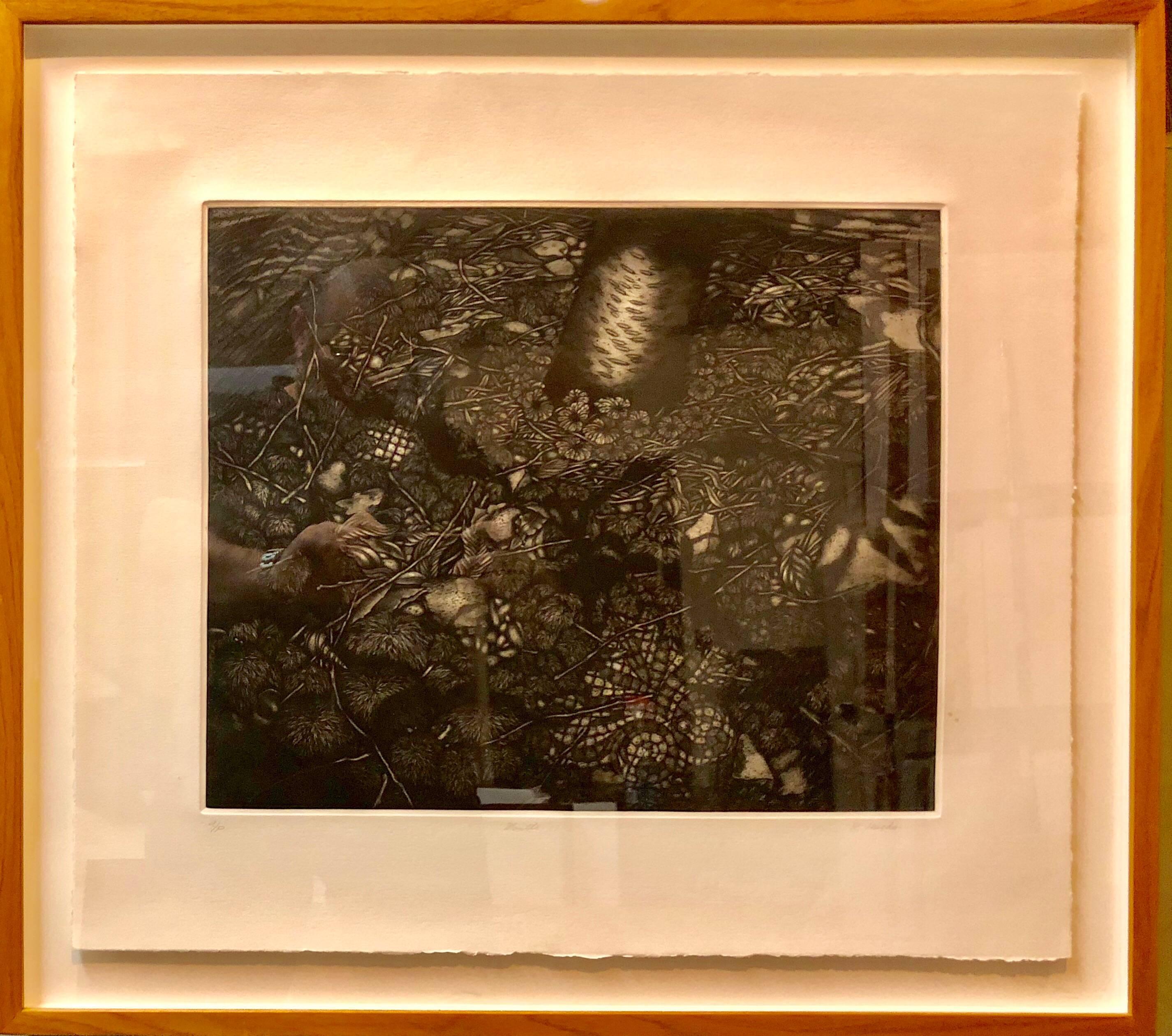 Mezzotint Etching Botanical Print 'Mantle' Signed AP Jungle Image