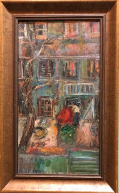 New York City Tenement Building Oil Painting Wpa Era