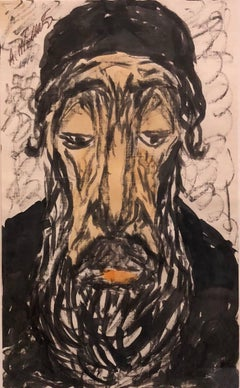 Modernist Watercolor Painting, Portrait of a Man, the Rabbi