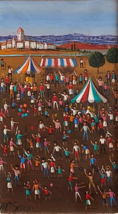 French Surrealist Circus Tents Scene, Children with Balloons Oil Painting