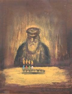 Judaica Pastel Painting Lighting the Chanukah Menorah