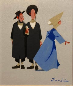 Vintage French Judaica Caricature Gouache Painting Two rabbis and a Nun