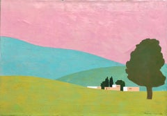 Israeli Modernist Abstract Color Block Landscape