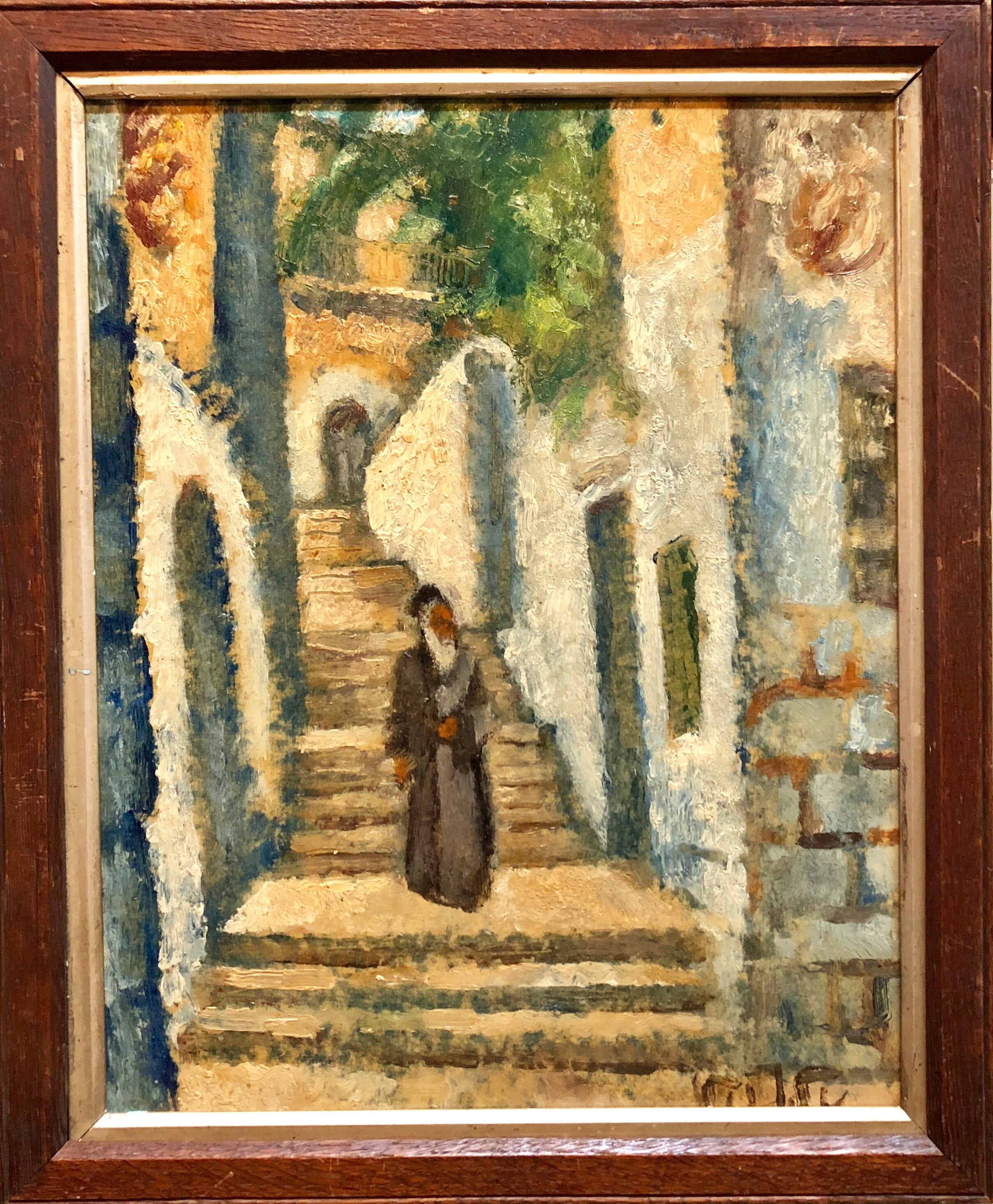Arieh Allweil - Rabbi in Jerusalem Modernist Israeli Judaica Oil ...
