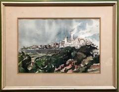 Modernist Landscape 'Portugal' Watercolor Painting