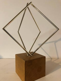 Rare Israeli Agam Sculpture Steel Wood 'From Lines to Forms' Signed Paris 1967