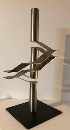 Large Stainless Steel Abstract Israeli Sculpture 'Three Tubes' Maquette