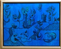 Bimorphic Modern Blue Abstract Oil Painting Armenian American Artist