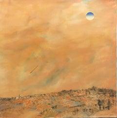 Large Jerusalem Hills Landscape Modernist Israeli Oil Painting