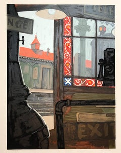 Modernist Silkscreen Screenprint 'El Station, Interior' NYC Subway, WPA Artist