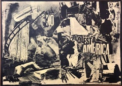 Italian Abstract Collage 'No a Questa America' Large Screenprint Hand Signed