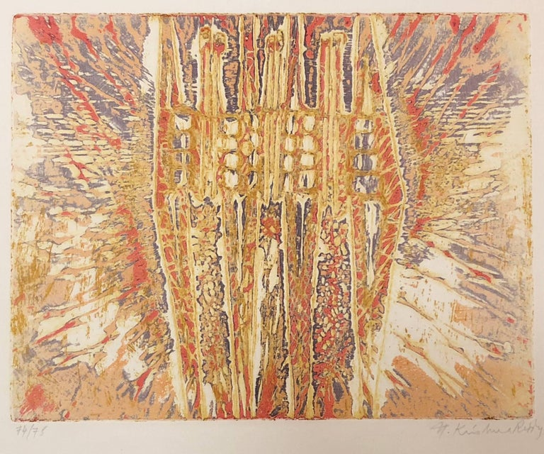 Untitled Intaglio Etching Print in Color Indian Modernist Master