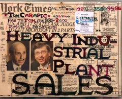 Mixed Media Outsider Visionary Art Newspaper Collage Bill Gates Laminated 2 side