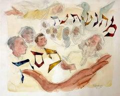 Original Watercolor Judaica Painting Passover Haggada Hebrew Mah Nishtana
