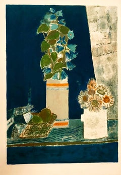 Still Life with Flower Bouquet in Vase French Modernist Lithograph