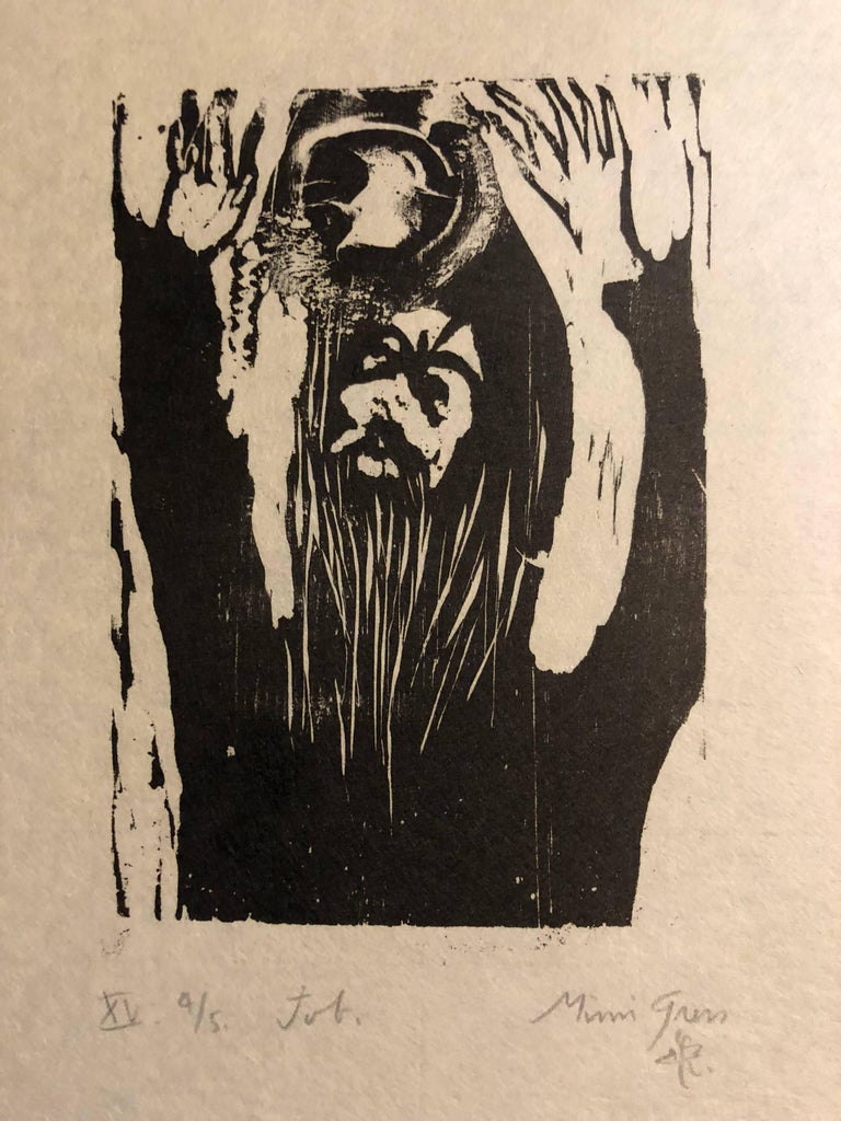 Woodcut Print, 'Job' Bible Scene Signed Small Edition