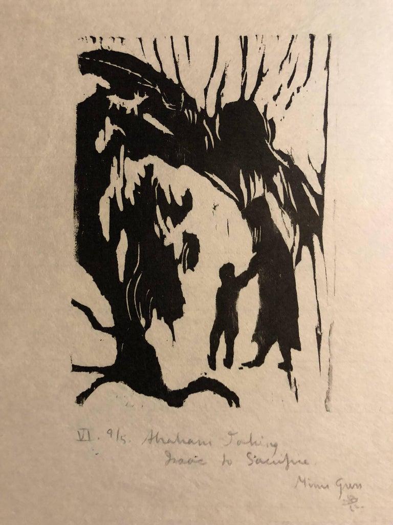 Woodcut Print, 'Abraham Teaching Isaac' Bible Scene Signed Small Edition