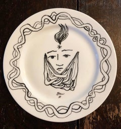 Christofle Porcelain Plate With Cocteau Art Deco Design Drawing