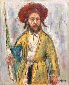 Jerusalem Hasidic Rabbi with Lulav and Etrog Judaica Oil Painting Hebrew Signed