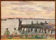 WPA New York Artist 1934 Watercolor Painting, Boys Fishing from Dock