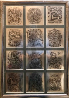 Mod 1970s Israeli Judaica Foil Print 12 Tribes of Israel Zodiac Signs Hebrew