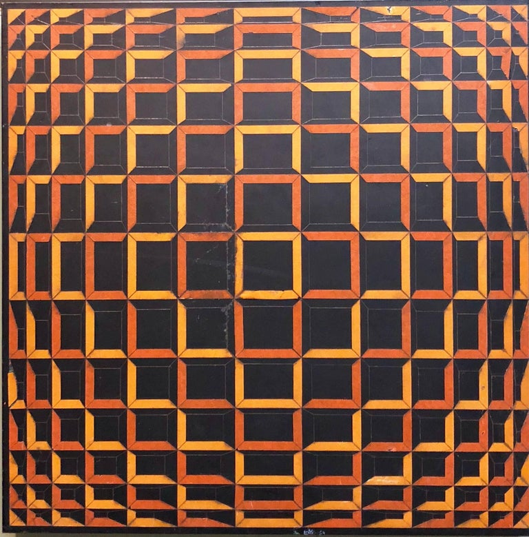 Colored Tape on Metal Box Manner of Vasarely Collage Painting
