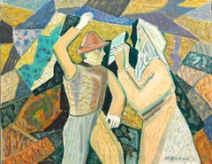 Judaica Modernist Oil Painting 'Know Thyself' Israeli Kibbutz Pioneer, Prophet