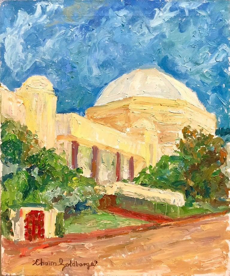 Chaïm Goldberg Judaica Oil Painting Synagogue Miami Beach - Painting miami