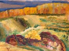 Expressionist Gouache Landscape Painting Jewish Modernist