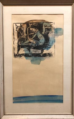 Abstract with Figures Israeli Mid Century Modernist Woodcut Watercolor Painting