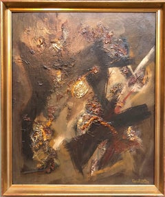French Gestural Abstract Expressionist Textured Oil Painting