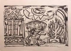 Large Venezuelan Jewish Modernist Lithograph Menorah Judaica