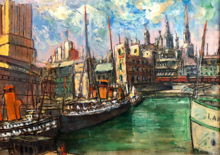 Hungarian Modernist Oil Painting Marine Harbor City Scene with Boats