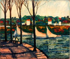 River Walk, American Modernist Oil Painting Landscape with  River and Boats