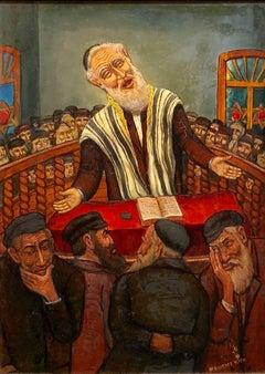 "The Preacher Rabbi  ""Der Maggid"" Judaica Oil Painting WPA Jewish artist"