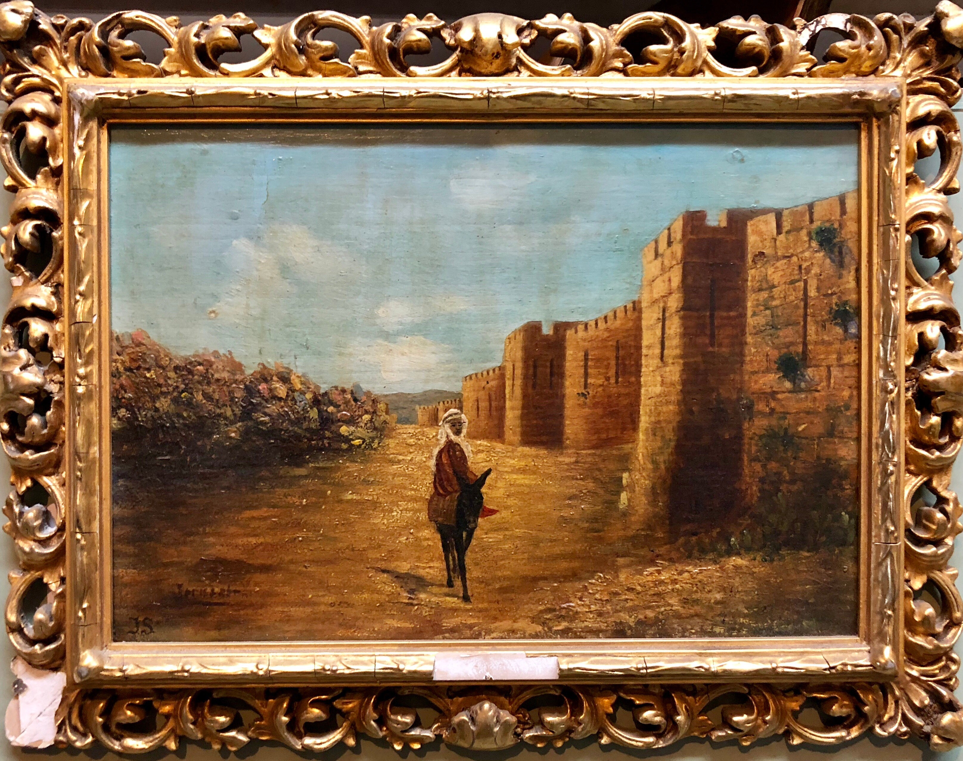 Antique Oil Painting Of Jerusalem Ascent to Old City Walls