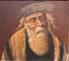 Chassidic Rabbi with Shtreimel, Rare Judaica Oil Painting Signed in Hebrew