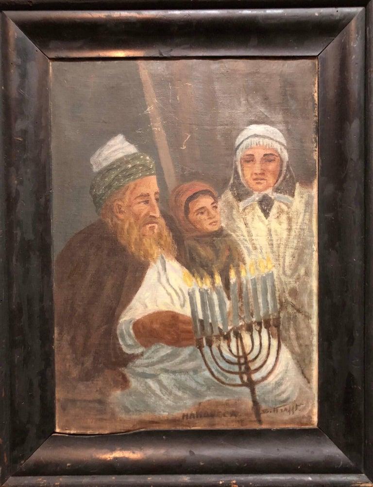 Hanoucca World War II Era Rare Judaica Oil Painting Signed